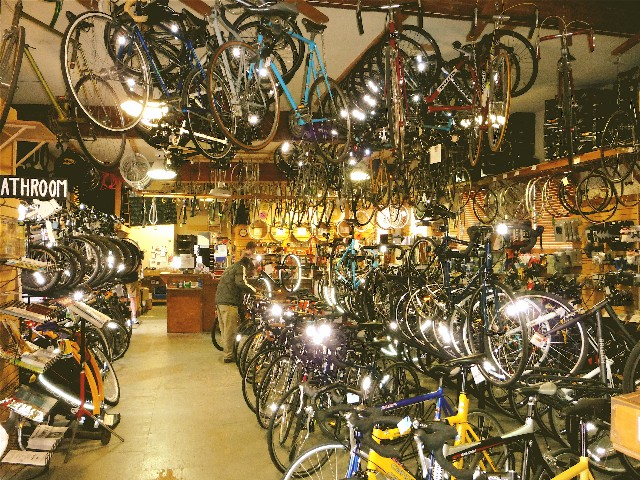 You call this a bike shop? Um...yeah! Inside Recycled Cycles